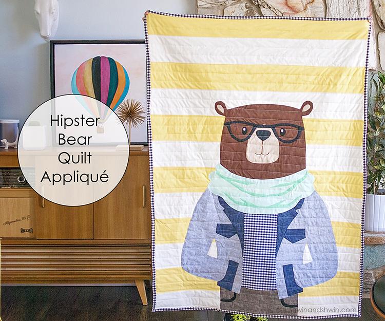 Hipster bear quilt appliqué