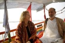 Shyamdas and Susan on a Yamuna boat ride near Vrindavan (December 22, 2006)