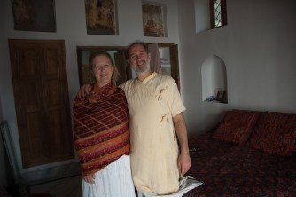 Shyamdas and Susan pose in his recently renovated apartment bedroom in Gokul. December 23, 2006