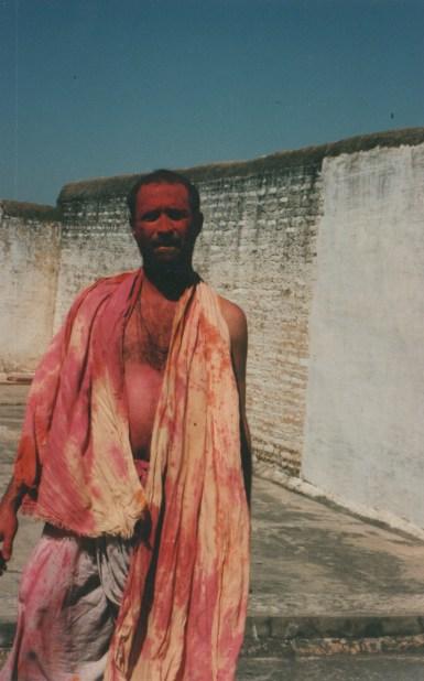 Shyamdas doused in Holi rang at his Gokul dharamshala