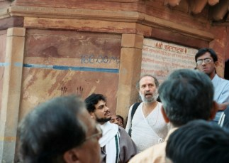 Shyamdas by Baba's side at the Yamuna River ghats in Mathura