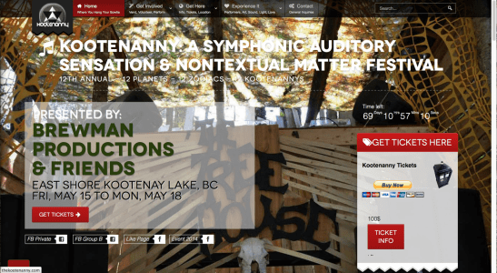 Kootenanny Music Festival Website 2014