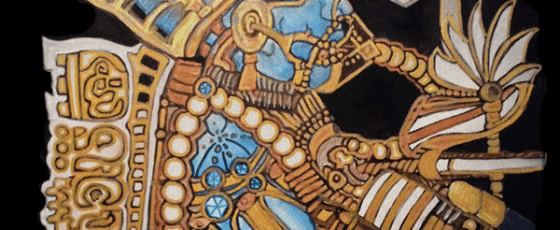 Blue Mayan Ancient Astronaut –  Mixed Media on Canvas