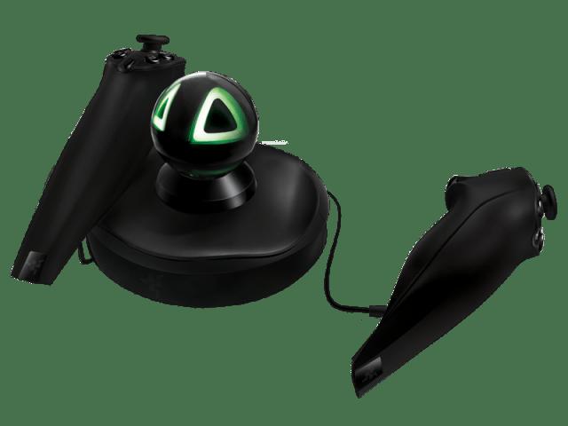 Manette de jeu Razer Hydra (anciennement Sixense TrueMotion), un contrôler de jeu par capture du mouvement et de l'orientation développé par Sixense Entertainment.