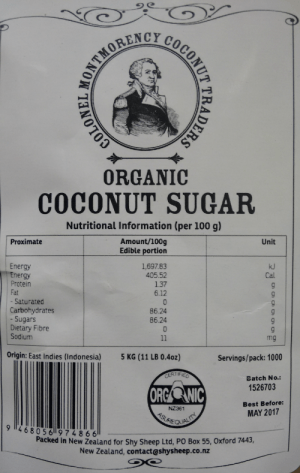 Coconut Sugar Colonel Montmorency 5kg label scan