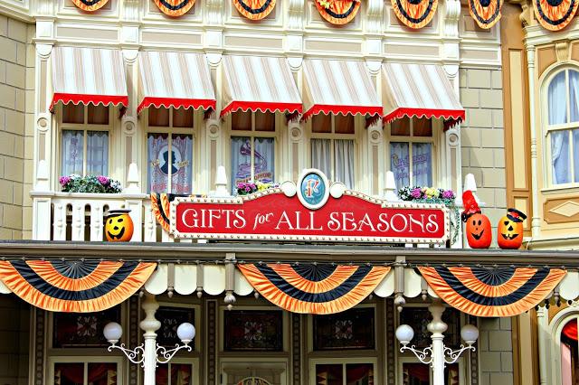 Shops on Main street dressed for Halloween at Disneyland Paris