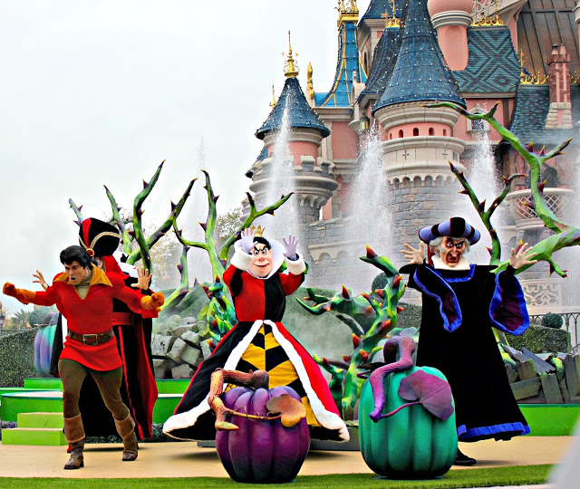 Villains in front of the castle during Halloween at Disneyland Paris