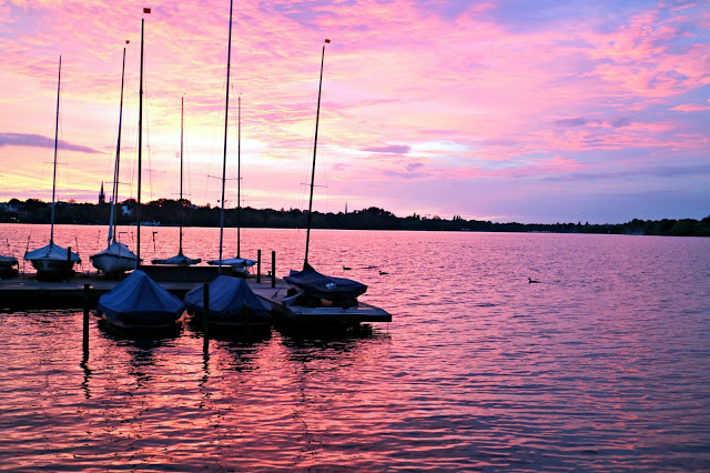 Sunset over hamburg dock