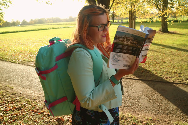 Kariss reading her guidebook