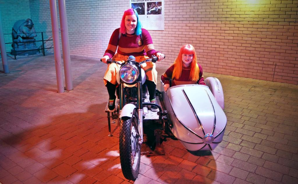 women on Hagrid's bike