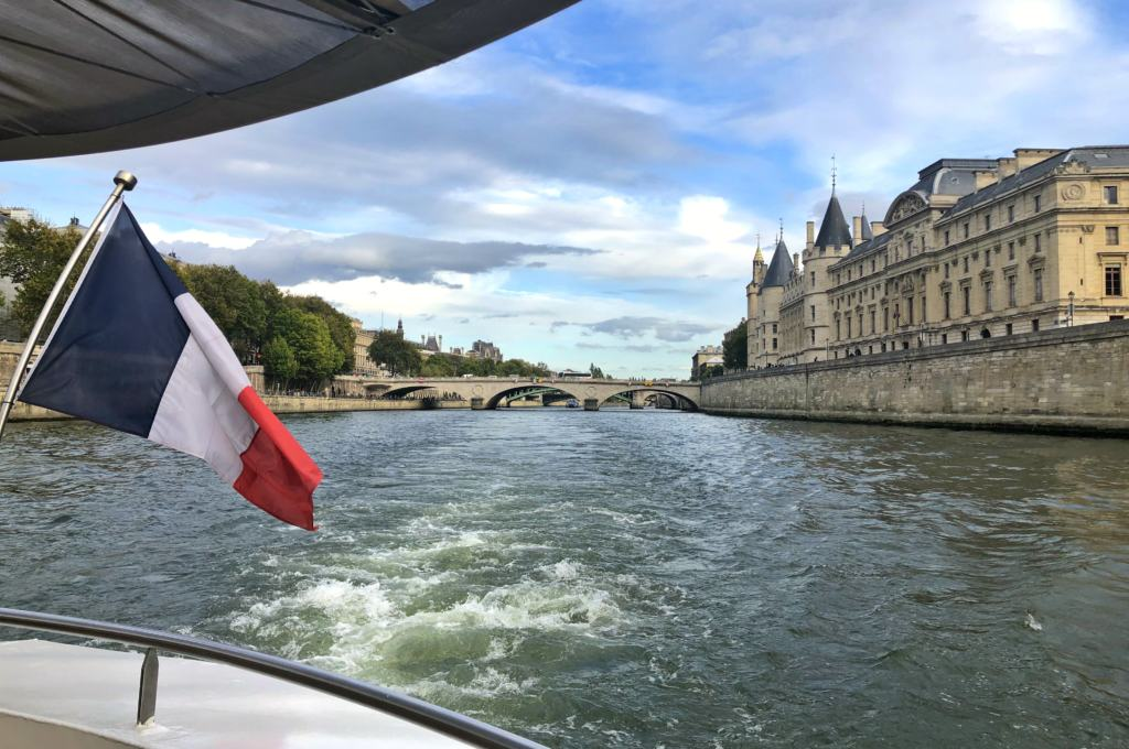 View from the back of the boat with Paris flag