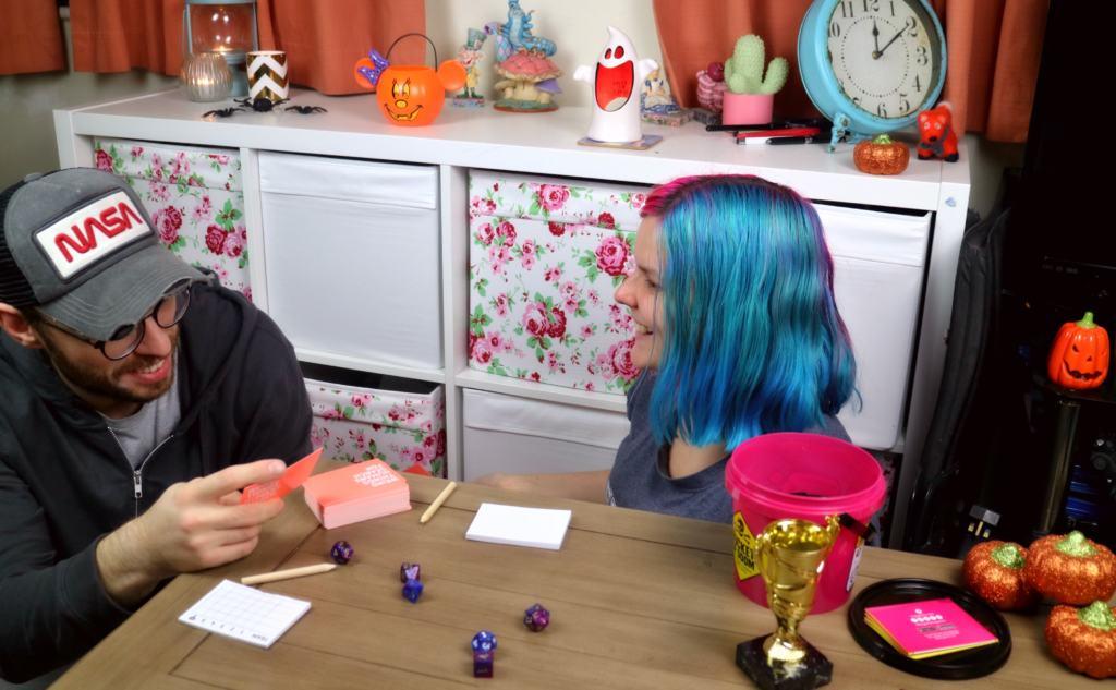 two people enjoying a board game