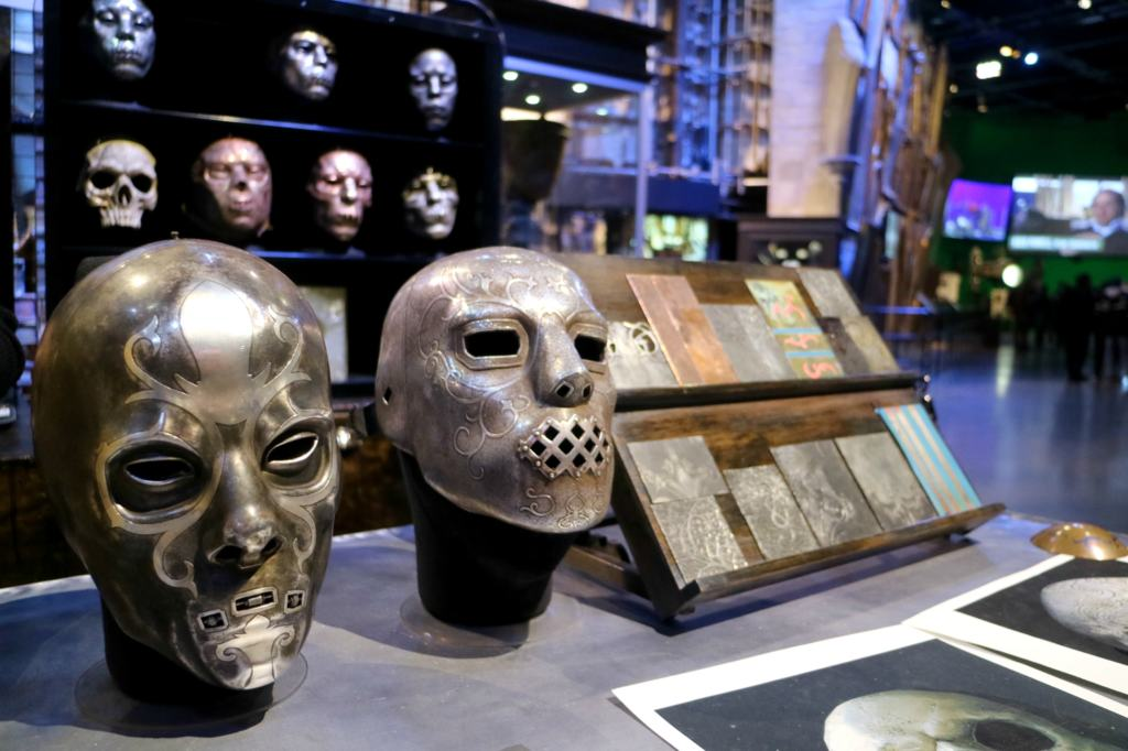 Mask station for the Dark Arts section of the Warner Bros. Studio tour