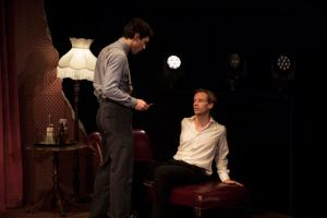 lead actors on stage for the first act of Spy Plays