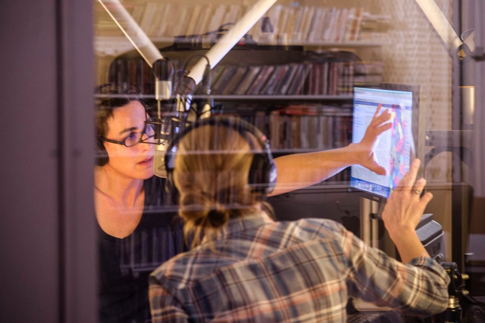 Sarah Koenig and producer Dana Chivvis in the studio.