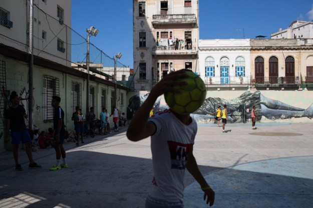 Young people playing soccer last week at a local playground in Old Havana.