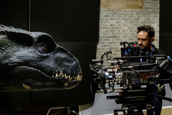 Director J.A. Bayona with the Indoraptor on the 'Jurassic World: Fallen Kingdom' set. 'It was important to make sure that in those close-ups, where the actors touched the dinosaurs, that the interaction between them actually worked,' he says.