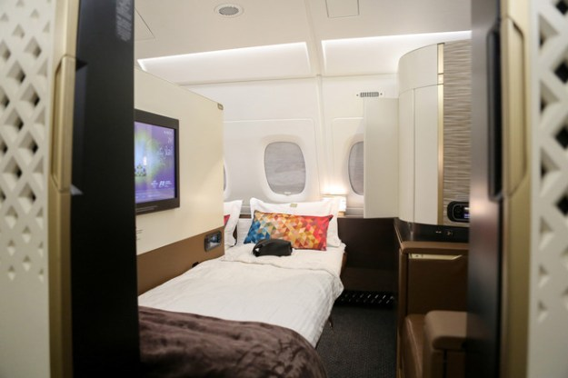 The first-class cabin of an Airbus SE A380 operated by Etihad Airways.