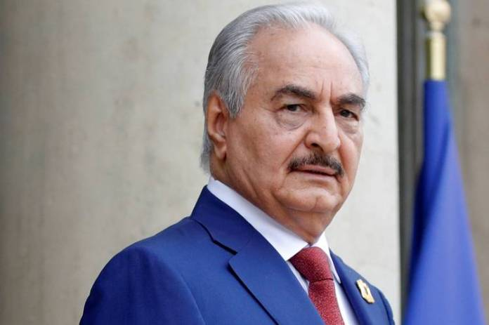 Khalifa Haftar, the military commander whose forces dominate eastern Libya, arriving in Paris for an international conference in May.