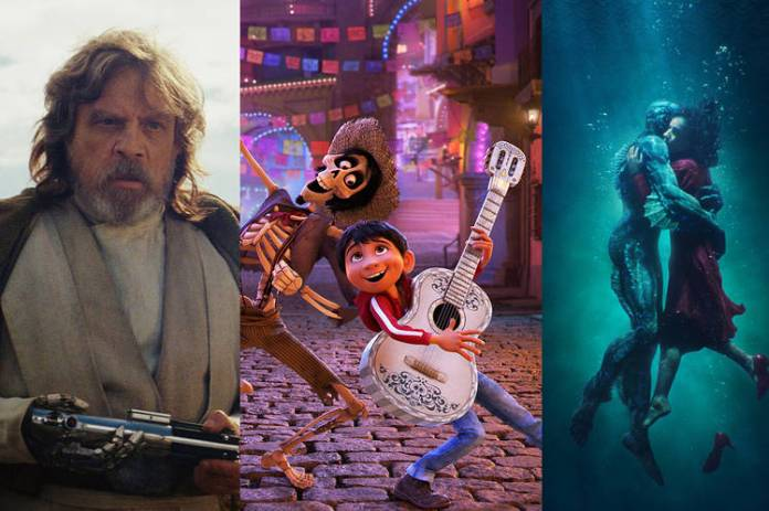 From left: 'Star Wars: The Last Jedi,' was the domestic box-office champ in 2017. 'Coco' posted the highest audience score of 2017. 'The Shape of Water' won the best picture Oscar.