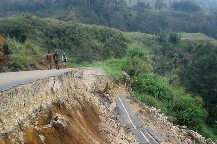 A road damaged by a February earthquake near Mendi in Papua New Guinea's highlands region. The earthquake killed more than 100 people.