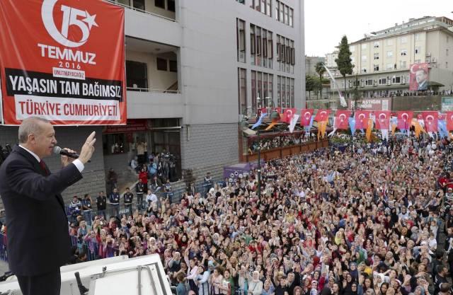 Turkey's President Recep Tayyip Erdogan addresses his supporters in his Black Sea hometown, Rize, Turkey, Aug. 11.
