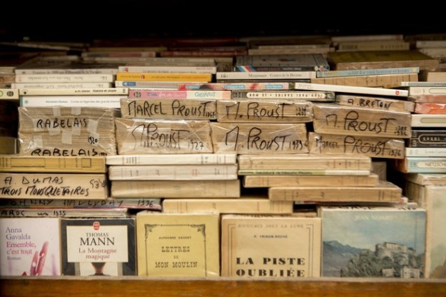 Proust has prominence among the literary lights at Mr. Callais's stall.