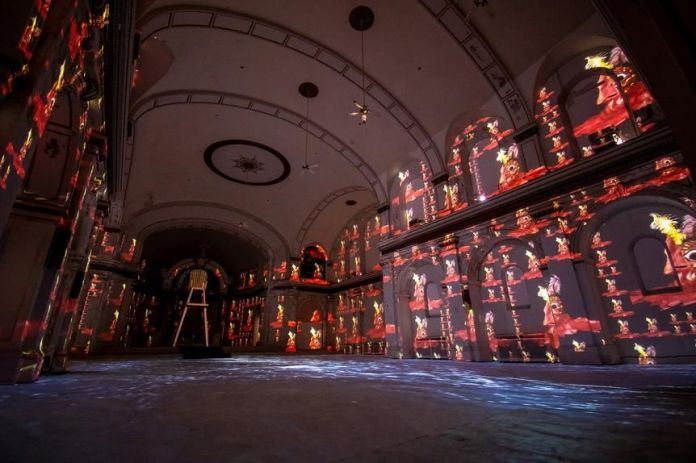 Nick Cave's 'Hy-Dyve' installation in a former Catholic church.