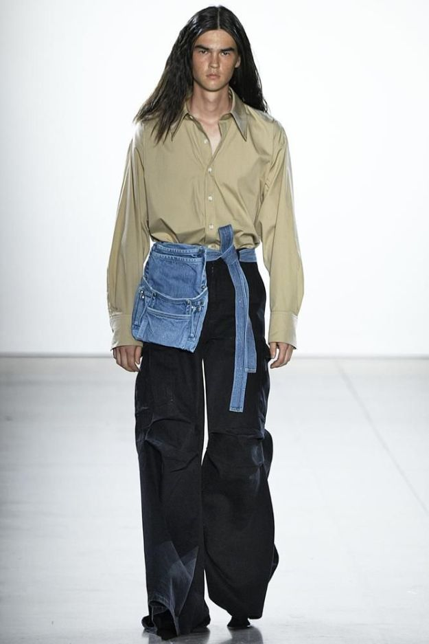 Loose trousers and creative denim on display at the Matthew Adams Dolan show during New York Fashion Week.