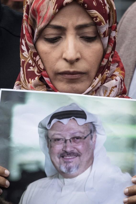Nobel Prize winner Tawakkul Karman holds a poster of Jamal Khashoggi during a protest outside Saudi Arabia's consulate in Istanbul on Oct. 8.