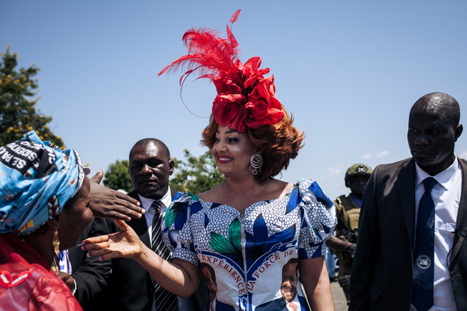 Chantal Biya greets her husband's supporters in Cameroon in September.