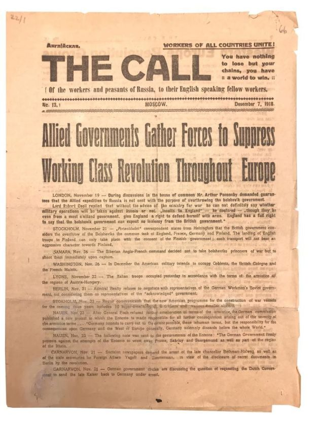 An issue of the Bolshevik propaganda newspaper, The Call, which circulated among American troops in northern Russia.