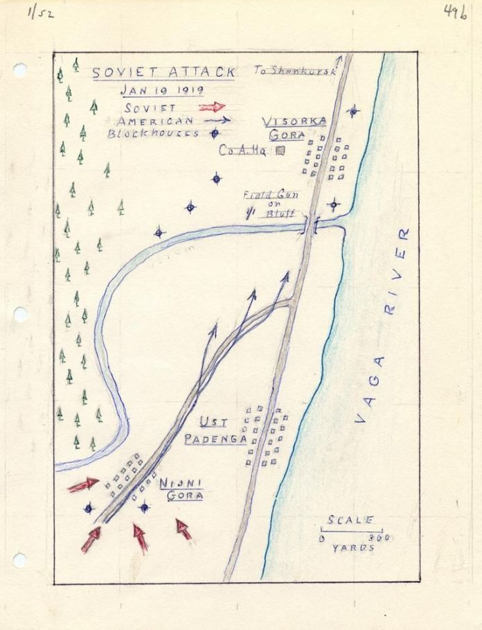 A soldier's map of the Bolshevik attack on Ust Padenga on Jan. 19, 1919. The assault forced American and allied troops into a desperate retreat.