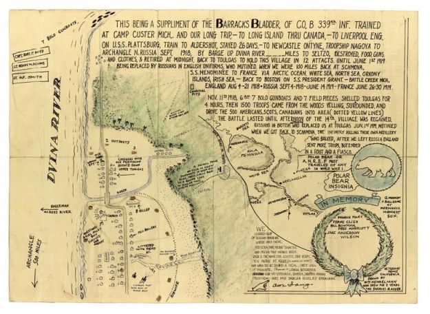 Pvt. William Henkelman, one of the Company B conspirators, drew this map of the Dvina River front while in a California veterans home, years after the war.