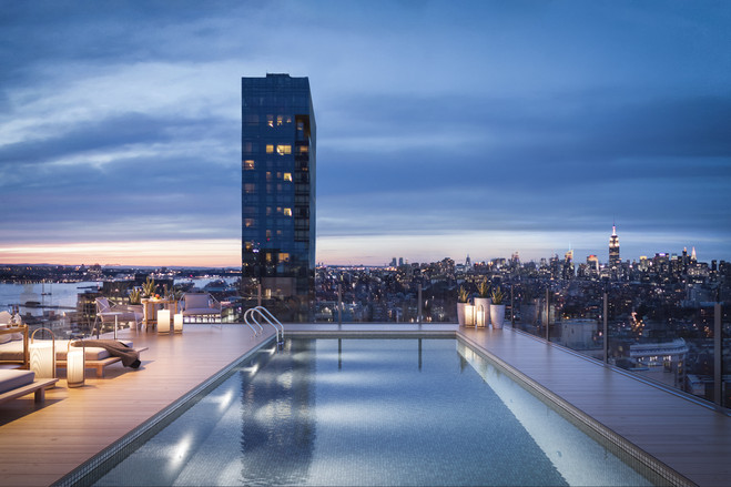 The penthouse apartment has a rooftop terrace with a private heated outdoor pool.