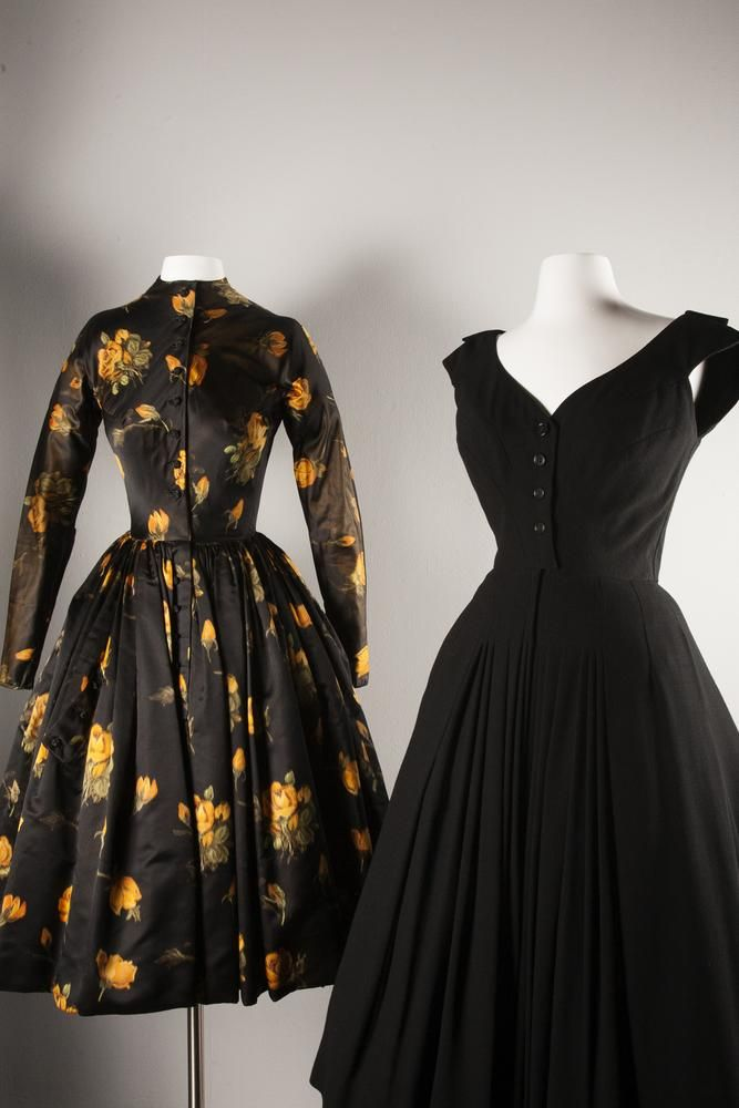 Afternoon dress, silk warp-printed taffeta (winter 1957-58) and wool cocktail dress (c. 1953)