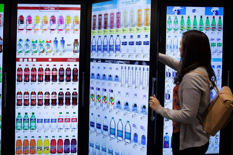 Cooler Screens offers a digital merchandising platform that depicts the food and drinks inside in their best light, but also serves as an in-store billboard that can serve ads to consumers who approach.