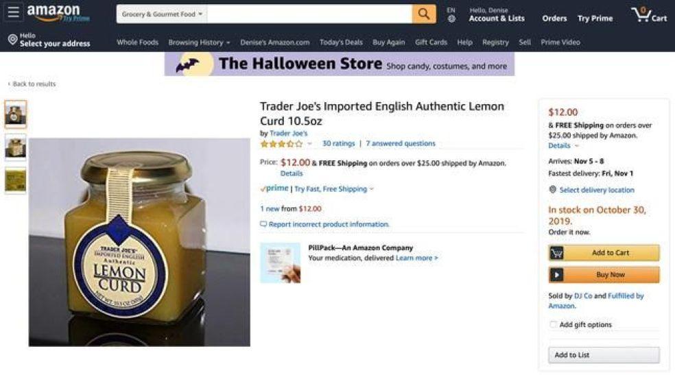 The lemon curd for sale on DJ Co's Amazon site.