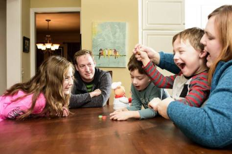 Online insurance buyer Dan Finkelstein and his family at home.