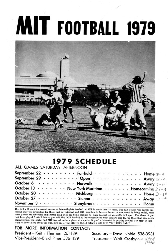 After a season in which the team didn't win any games, MIT won its very first game of the 1979 season.