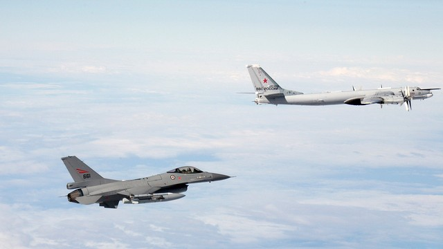 A Norwegian F-16 shadows a Russian air force Tupolev Tu-95 in October in a photograph released by the Norwegian Air Force.