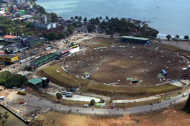 Galle International Stadium December 2004<br>  An aerial image taken from a helicopter shows the cricket stadium in the southern city of Galle destroyed by the tsunami.