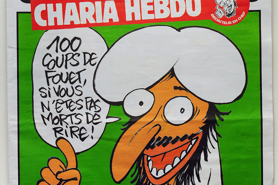 "A Charlie Hebdo cover, 2011: ""100 lashes if you don't die laughing!?"""