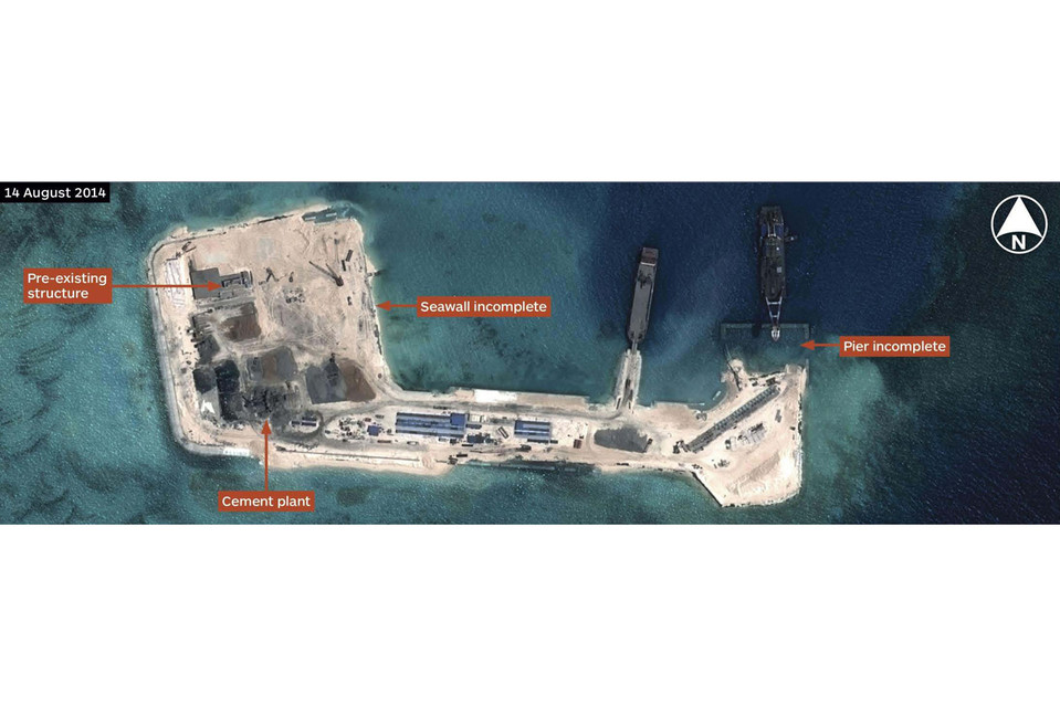 Construction expands on Hughes Reef in August.<br>