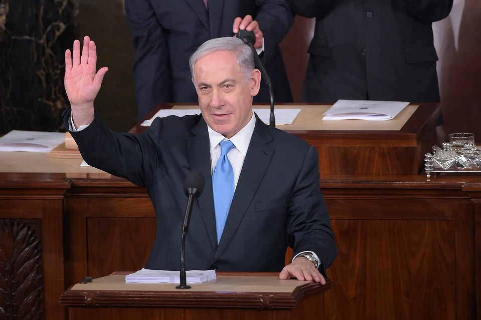 Israel's Prime Minister Benjamin Netanyahu arrives to address to Congress on Tuesday.