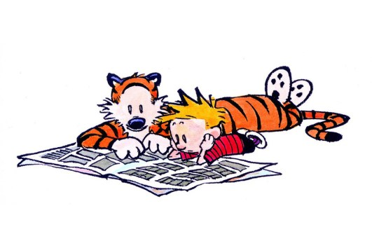 Calvin and Hobbes were fans of print journalism—or at least the comics.