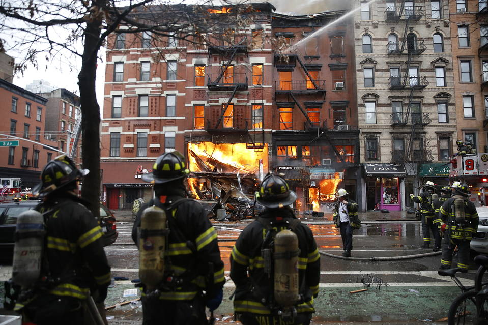 Smoke and flames from a building in the East Village.