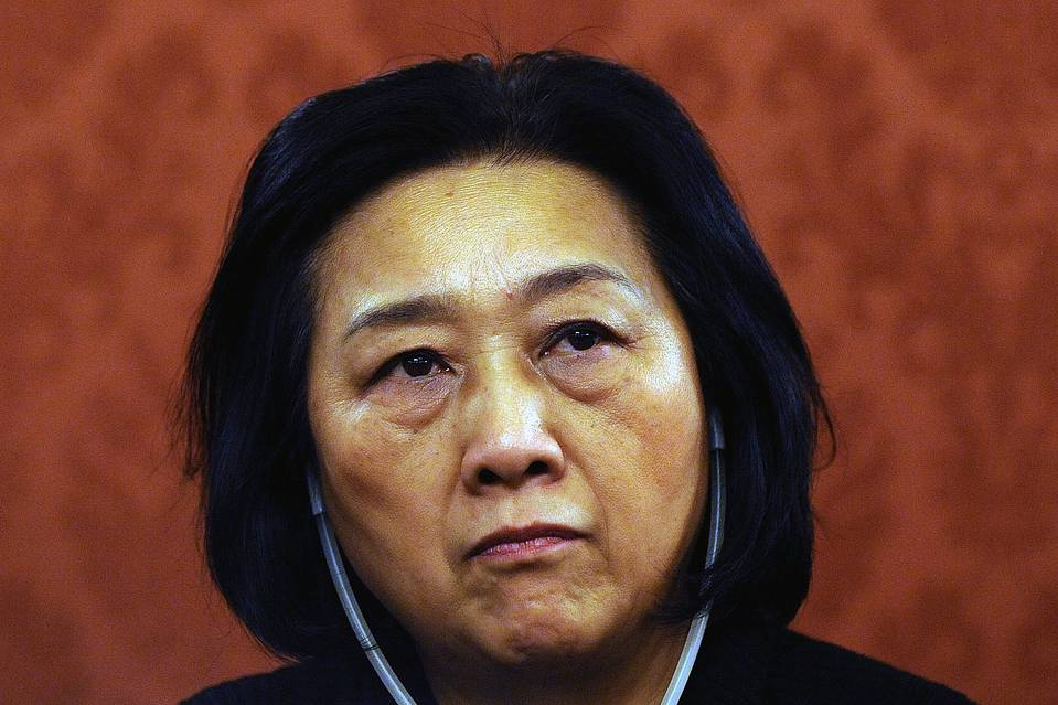 A 2009 file photo shows Chinese journalist Gao Yu attending a debate in Prague. EPA/FILIP SINGER