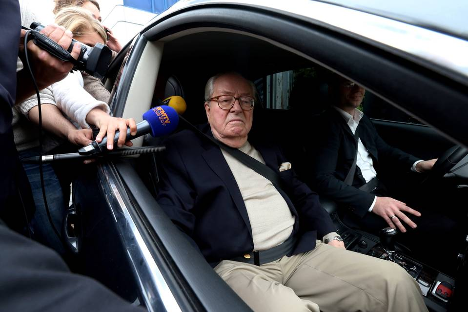 Jean-Marie Le Pen leaves the National Front headquarters in Nanterre on Monday.