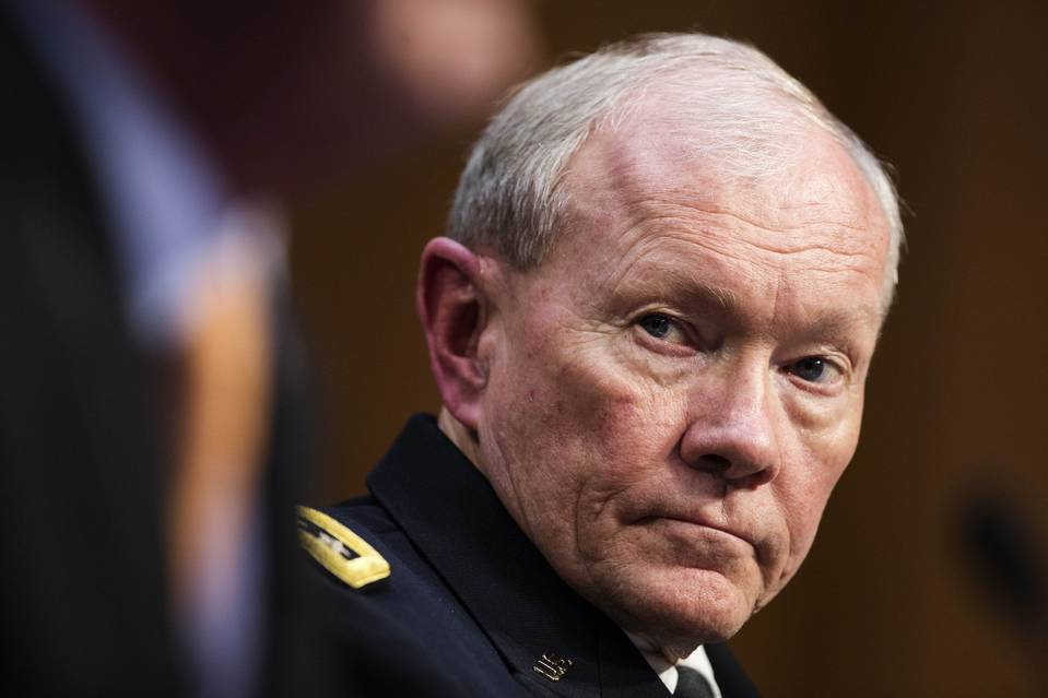 Gen. Martin Dempsey, the outgoing chairman of the Joint Chiefs of Staff, listens to testimony during a Senate Armed Services Committee hearing in March.
